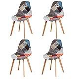 N/A Juego de 4 sillas de comedor, tapizado patchwork retro, comedor, cocina, dormitorio, silla de oficina (rojo)