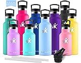 KollyKolla Botella de Agua Acero Inoxidable, Termo Sin BPA Ecológica Reutilizable, Botella Termica con Pajita y Filtro, Water Bottle para Niños & Adultos, Deporte, Oficina (750ml Macaron Azul)