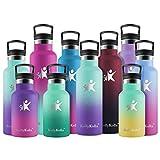 KollyKolla Botella de Agua Acero Inoxidable, Termo Sin BPA Ecológica Reutilizable, Botella Termica con Pajita y Filtro, para Niños & Adultos, Deporte, Oficina (500ml Macaron Verde + Púrpura Oscuro)