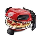 G3Ferrari Delizia G3 Ferrari Forno, Pizza Express Original con Placa de Piedra refractaria (ø 31 cm), Color, 1200 W, 1 Liter, 0 Decibeles, Acero Inoxidable, Negro, Rojo