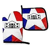 Pag Crane Flag of City of San Antonio - Juego de Soportes para ollas de Manoplas para Horno, Cocina Resistente al Calor, Impermeable con Capa Interior de algodón para cocinar, Barbacoa, Hornear