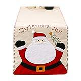 jiheousty Navidad Santa muñeco de Nieve Bordado Invierno y Vacaciones Tela Camino de Mesa, Cocina y Comedor Camino de Mesa, 14x70 ''