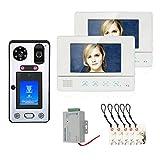 Video Timbre, Videoportero con Intercomunicador de 7 pulgadas con 2 Monitores y Cámara de Visión Nocturna, Reconocimiento Facial de Huellas Digitales Tarjeta de Acceso Inteligente Desbloqueo