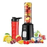 Housmile Batidora de Vaso Individual con Vasos de Viaje y Deporte para Zumos, Fruta y Verdura, 500W Color-Negro