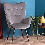 Furnish1 Silla Decorativa, Silla de Comedor Silla con Respaldo Medio y apoyabrazos Silla Moderna tapizada de Ocio con Patas de Metal Chapado, Gris