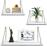 Uarter Estantería de Pared, 3 pcs Estantería Colgante, Blanco Baldas Flotantes Decoración de Pared para Cocina, Baño, Dormitorio, Sala de Estar