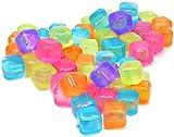 com-four® 60x Cubitos de Hielo Reutilizables en Colores Diferentes - Cubos de Hielo en Diseño de Frutas para Enfriar Bebidas (060 piezas - dados)