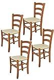 Tommychairs - Set 4 sillas Venice para Cocina y Comedor, Estructura en Madera de Haya Color Cerezo y Asiento tapizado en Polipiel Color Marfil