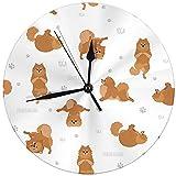 Butty Reloj de Pared Redondo Decorativo Moderno Yoga Perros Poses y Ejercicios Pomerania Spitz Funciona con Pilas