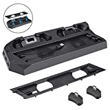 Vertical Stand for PS4 Slim/PS4 Pro, Achort Controller Charging Station with 2 Cooling Fans 2 Controller Charger Station, 3 Extra USB HUB Ports and 1USB Cable for PlayStation 4 Slim/Pro Consoles