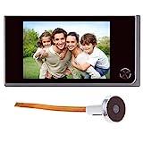 Timbre digital con pantalla LCD de 3,5 pulgadas y mirilla de 120 grados para puerta, con cámara infrarroja a color; funciona con 4 pilas AAA (no incluidas)