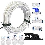 FOCCTS Kit de tubos de suministro de agua de 15 metros y conectores de refrigerador para refrigerador doble de estilo europeo (tubo de 0,63 cm)
