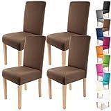 Gräfenstayn 4pcs Fundas para sillas elásticas Charles - respaldos Redondos y angulares - Paquete Benefit - Ajuste bi-elástico con Sello Oeko-Tex Standard 100:'Confianza verificada (Marrón)
