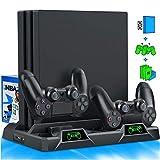 PS4 - Ventilador de refrigeración con soporte para PS4 Slim / PS4 Pro / PlayStation 4, PS4 Pro Stand vertical con estación de carga de control dual y almacenamiento de 16 juegos