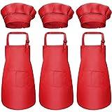 6Pcs Niños Delantal y Gorro de Cocinero, Infantil Delantales de Chef con Bolsillos, Niñas Ajustable Delantal de Cocina Jardín, Delantal de Cocinar para Hornear Pintar Artesanía (7-13 Años) (Rojo)