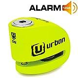 Urban Security UR906X Candado Antirrobo Moto Disco Alarma 120 dB, Eje 6 mm Universal, Amarillo Flúor