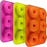 FineGood FG molds_3 - Juego de 3 moldes de silicona con forma de donut, 6 cavidades antiadherentes, para hacer galletas, magdalenas, pasteles, bagels, naranja, rojo rosa, verde