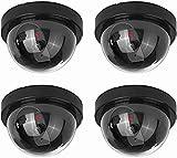 NONMON Cámara Falsa Redonda,4Pcs Dummy Cámaras de Vigilancia Simuladas,LED Parpadeante Sistema CCTV Imitación,Seguridad Supervisión Protección para Interior Exterior Hogar Oficina