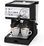HOMEVER Retro Cafetera Espresso 15 Bares, 1050W, 2 Salidas, 2 Termostatos Independientes, Depósito de Agua Extraíble de 1.5 litros, Manual Cafetera Profesional para Espresso y Capuccino (Negro)