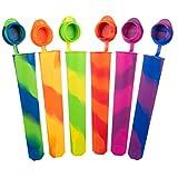 iNeibo Juego de moldes para Helados, Polos de Hielo, de Silicona, sin BPA (6 Multicolor)