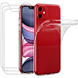 ivoler Funda Compatible con iPhone 11 6.1 Pulgadas con 3 Unidades Cristal Templado, Transparente TPU Silicona [Carcasa + Vidrio Templado] Ultra Fina Protector de Pantalla y Caso para iPhone 11