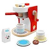 TONZE Cafe Juguete Madera Cafetera Tacitas de Cafe Juguetes Cocinas Infantiles Juegos del rol para Niñas Niños 3 4 5 6 Años
