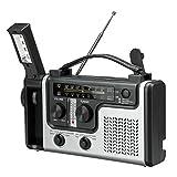 Radio de Emergencia portátil, Cargador USB 2000mAh Power Bank, Radio de manivela Solar de Emergencia con Linterna LED, Alarma SOS para el hogar, Exterior
