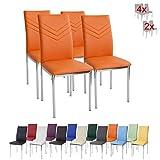 Albatros 2946 Verona Set de 4 sillas de Comedor, Naranja, pie de Cromo, SGS Tested