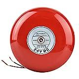 Alarma de Seguridad Contra Incendios, Alarma Redonda de Metal de 24 Voltios Alarma de Seguridad Alarma Contra Incendios Campana Roja Diseño Hermoso y Elegante, Económico y Práctico