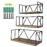 UMI. by Amazon Estantes flotantes de Madera rústica para baños, dormitorios, oficinas, cocinas, Set de 3
