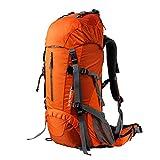 LILINA Mochila de Senderismo Ampliable 55L a 60L Mochila de Trekking Resistencia al Agua Ultraligera Camping Montañismo Ciclismo Viajes Mochila al Aire Libre para Hombres y Mujeres,Naranja