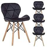 N A to MUEBLES HOME - Juego de 4 sillas de comedor, estilo de mediados de siglo, retro, moderno, tapizadas con piel sintética y con respaldo curvado, ideal para cocina o comedor