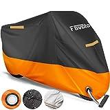 Favoto Funda para Moto Cubierta de la Moto 210D Impermeable Protectora a Prueba de Sol Lluvia Polvo Viento Nieve Excremento de Pájaro al Aire Libre XXL Negro+Naranja