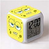 HHIAK666 Reloj Despertador Bob Esponja De Dibujos Animados, Reloj Despertador con Cambio De Color De Colores, Reloj Despertador con Luz De Noche De Regalo 8Cm C