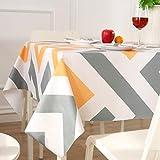 ENCOFT Manteles de Plástico Rectangular PVC Impermeable Mantel para Mesa Comedor Cocina Antimanchas Hules para Mesas Patrón Raya Amarillo Gris Blanco 137x180cm
