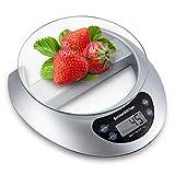 Bonsenkitchen Báscula Digital Balanza de Cocina Profesional, Escala de Peso de Alta Precisión con Vidrio Desmontable y Pantalla LCD - 5 kg / 11 lb, Báscula de Alimentos Electrónica Plata (KS8802)