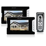 OWSOO 7 Pulgadas Videoportero, Intercomunicador Timbre, 2 Monitor Interior + 1 Cámara Exterior Impermeable, Soporte Vision Nocturna, Intercomunicación Visual, Desbloqueo Remoto