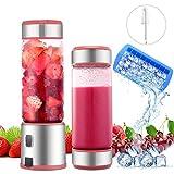 Licuadora portátil 450ml 2 tapas USB recargables de 5100 mAh mezclador de vidrio eléctrico 6 cuchillas de acero inoxidable para frutas, verduras, batido de frutas, certificado BPA/FDA, rosado