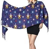 Bufanda de mantón Mujer Chales para, Copos de nieve Patrón de perro Bufanda de cachemira Bufanda de lana de cachemira suave Chal y abrigo Manta de estola cálida 77 y veces; 27 pulgadas