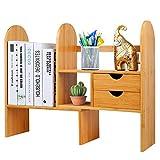 Hossejoy - Estantería de escritorio ajustable de bambú con cajones, organizador de escritorio multiusos para accesorios de oficina, cocina y baño