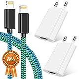 Cable Teléfono, Cargador móvil Paquete de 2 1M Cable Lightning + Dos USB Plug 1A 5V Reemplazo del adaptador de pared móvil para iPhone 11 10 XS / XS MAX / XR / X 8/7/6 / 6S Plus SE / 5S / 5C