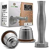 Greenvea - Juego Completo de capsulas de café Nespresso rellenables y Reutilizables. Capsulas rellenables de Acero Inoxidable para café y té. (1 capsula, támper, guía y Cuchara de dosificación)