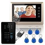 Sistema de intercomunicación de videoportero con cable de 7'1 Teclado de timbre RFID con código de timbre de la cámara 1 Monitor 1000TVL Desbloqueo inalámbrico