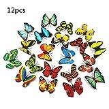 LuckES 12 Piezas Colores Variados 3D Mariposa Imanes de Refrigerador Desmontable Imanes De Nevera Pegatinas de Pared Decoracion de Arte Partido Decoración Hogareña Aleatorio
