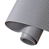 Hersvin 60cmx500cm Plastico Protector para Cocina Cajones, Alfombras Non Adhesivo para Nevera Mueble Fregadero Estante Organizador Cubiertos EVA Cubre Encimera(Gris Oscuro/Punto)