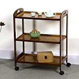 Qchomee Carrito de cocina de bambú de 3 niveles para servir con ruedas, estante de servicio, carrito de cocina, restaurante, estante de almacenamiento de 60 x 33 x 74 cm, color marrón