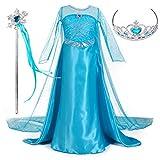 Magogo Vestido de Princesa Elsa Disfraz Ropa para niñas Fiesta de Traje de Carnaval Falda Elegante con Corona y Varita mágica (XL 131-140cm, Azul)