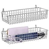 mDesign Juego de 2 estantes de pared de metal – Estantería de rejilla pequeña para pasillo, dormitorio, etc. – Organizador de cartas, carteras, gafas de sol o accesorios de baño – plateado