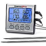 ThermoPro TP17 Termómetro Cocina Digital de Doble Sonda con Modo Temporizador Termómetros de Barbacoa con Grande Retroiluminación de LCD para BBQ Carne Alimentos Líquido Parrilla Horno