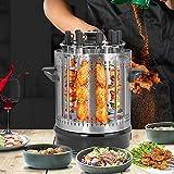 Parrilla Vertical Giratoria, Parrilla de Barbacoa Eléctrica de Acero Inoxidable Multifuncional para Shish Kebab, Tacos, Verduras, Carnes y Pescados(EU Plug 220V)